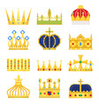 gold crown king icon set nobility majestic vector image vector image
