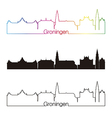 Groningen skyline linear style with rainbow vector image vector image