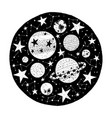 hand drawn circle with stars vector image