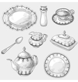 Hand drawn doodle sketch kitchen porcelain vector image vector image