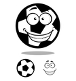 Happy football or soccer ball with a goofy smile vector image vector image