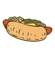 Hot Dog with Salad vector image