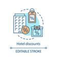 hotel discounts concept icon vector image vector image