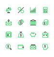 icon set money bank finance in linear style vector image vector image