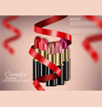 lipstick sets with red bow realistic 3d mock up vector image vector image