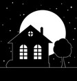 night village landscape with a house vector image