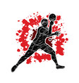 ping pong player table tennis action cartoon vector image vector image