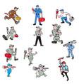 plumber cartoon set vector image vector image