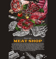 poster of butchery shop meat product sketch vector image vector image