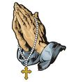 Praying hands with rosary tattoo vector image vector image