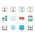 Printing 3D flat icons set vector image