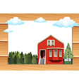 Red house on the wooden wall vector image