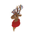 reindeer head with red vector image vector image