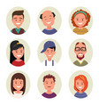 set avatars happy smiling people vector image vector image