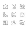 set line icons architecture vector image