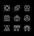 set line icons teamwork vector image