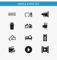 set of 12 editable movie icons includes symbols vector image vector image