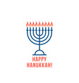 simple thin line happy hanukkah logo with candles vector image vector image