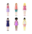 Six young girls flat style icon people vector image vector image