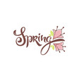 spring lettering composition with doodle flowers vector image