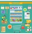 Supermarket flat set vector image