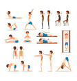 teen boy doing exercises set correct and wrong vector image vector image