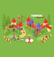 tower playground kids composition vector image vector image