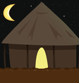village hut night vector image vector image