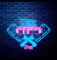 vintage meat store emblem glowing neon sign vector image