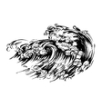 Waves brush ink sketch handdrawn serigraphy print vector image