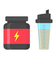 whey protein with sports shaker flat icon vector image vector image