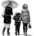 women and kid on a walk vector image vector image