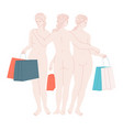 women with shopping bags sculpture the three