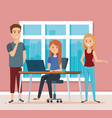 young people in the workplace scene vector image