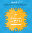 50 discount icon sign Floral flat design on a blue vector image