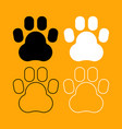 animal footprint set black and white icon vector image vector image