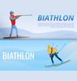 biathlon banner set cartoon style vector image vector image