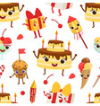 birthday party seamless pattern with cute funny vector image vector image