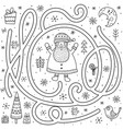 black and white maze game for kids help santa vector image vector image