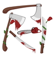 Bloody set of weapons vector image