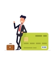 Businessman or manager standing near a big salary vector image vector image