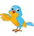 cartoon of a cute talking bird vector image vector image