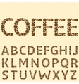 Coffee special alphabet vector image