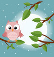 colorful tree with cute owl cartoon bird in moon vector image vector image