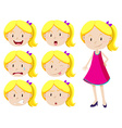 Cute girl with different facial expressions vector image vector image