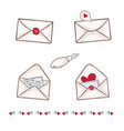 envelope with heart wax seal write a vector image vector image