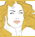 fashion and beauty face hand draw fashion vector image vector image