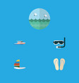 flat icon summer set of ocean beach sandals vector image vector image