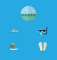 flat icon summer set of ocean beach sandals vector image
