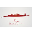 Fresno skyline in red vector image vector image